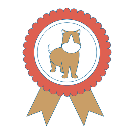 medal with dog icon over white background vector illustration