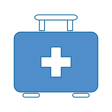 first aid kit icon over white backgroudn vector illustration Illustration