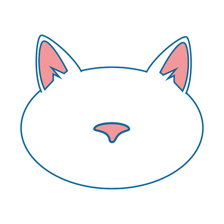 cat face icon over white background vector illustration