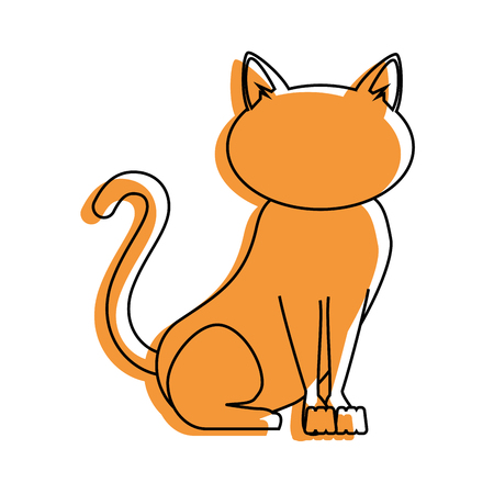 simple life: cat icon over white background vector illustration Illustration