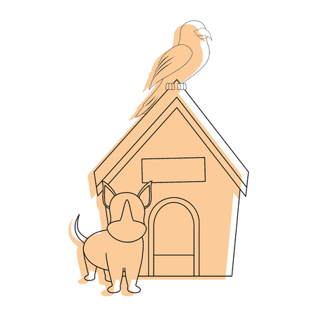 hond huis en puppy pictogram over witte backgorund vector illustratie