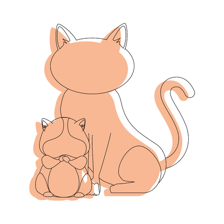 simple life: cat and squirrel icon over white background vector illustration Stock Photo