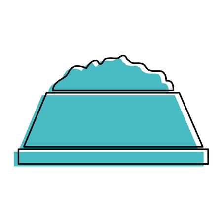 흰색 배경 벡터 일러스트 레이 션 위에 음식 아이콘을 가진 강아지 그릇