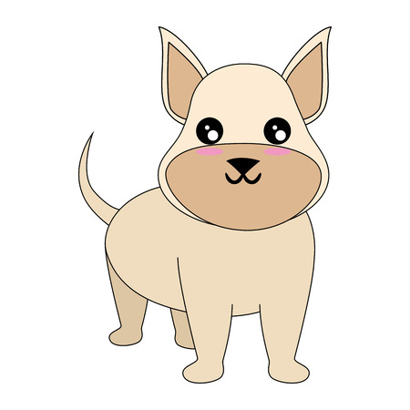 Caricatura, perro, cara, icono, encima, blanco, Plano de fondo colorido, diseño, vector, Ilustración Foto de archivo - 83281345
