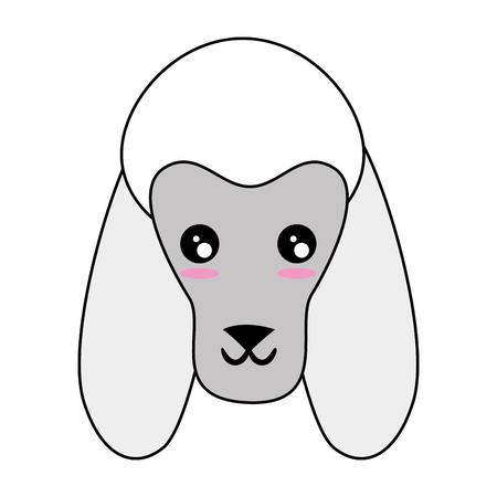 Caricatura, perro, cara, icono, encima, blanco, Plano de fondo colorido, diseño, vector, Ilustración Foto de archivo - 83295758