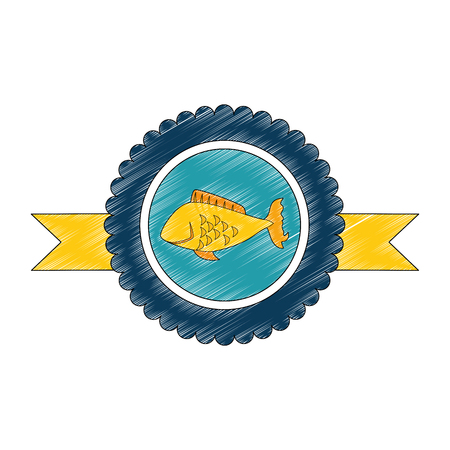 medal with fish icon over white background vector illustration