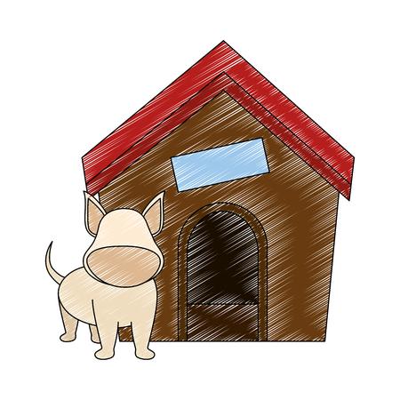 hond huis en puppy pictogram over witte backgorund vector illustratie