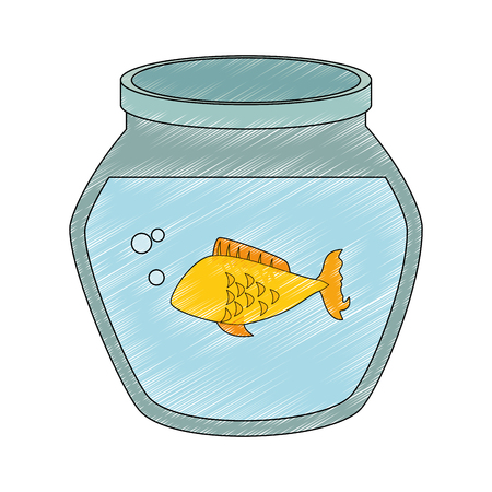 fish bowl with fish icon over white background vector illustration Stock Photo