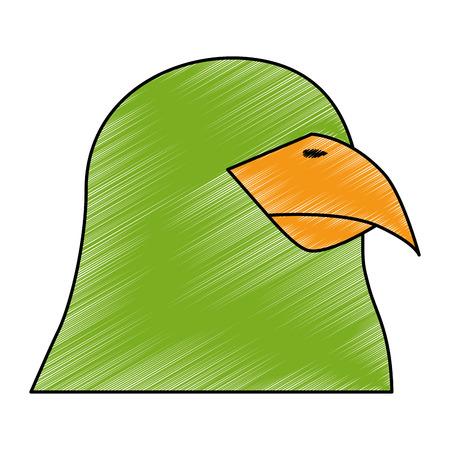 Papegaai vogel pictogram op witte achtergrond kleurrijke ontwerp vector illustratie
