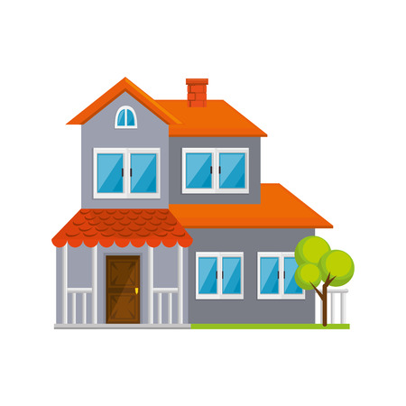 modern house icon over white background vector illustration 向量圖像