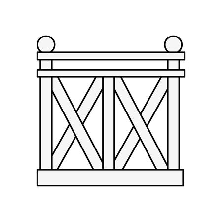 Clôture en bois icône sur fond blanc illustration vectorielle Banque d'images - 83304237