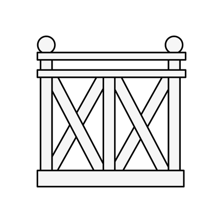 wooden fence icon over white background vector illustration Illusztráció