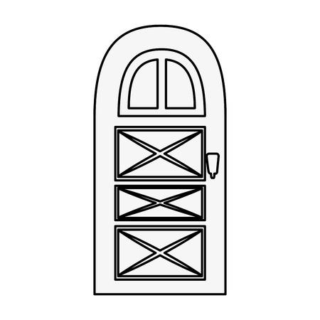 白い背景のベクトル図を家のドアのアイコン