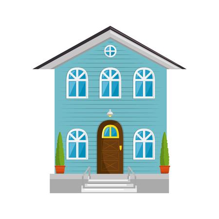 modern house icon over white background colorful design vector illustration Illusztráció