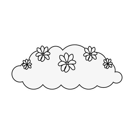 bush with flowers icon over white background vector illustration Ilustração