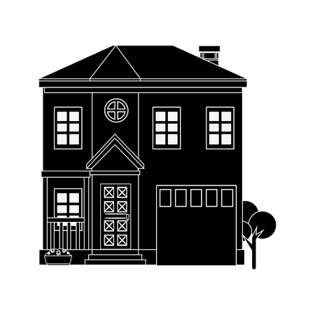 silhouette of modern house icon over white background vector illustration