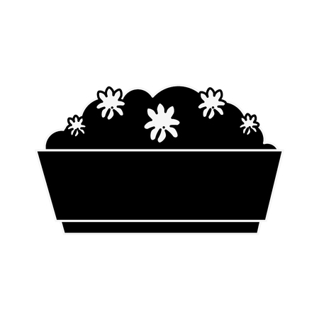 bush in a pot icon over white background vector illustration