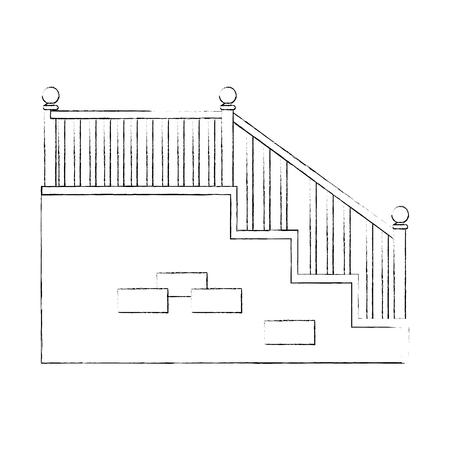 흰색 배경 벡터 일러스트 레이 션 위에 계단 아이콘