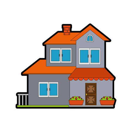 modern house icon over white background vector illustration Vettoriali