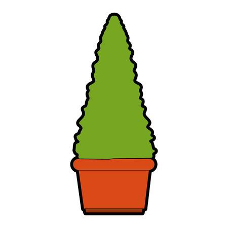 bush in a pot icon over white background colorful design vector illustration Ilustração