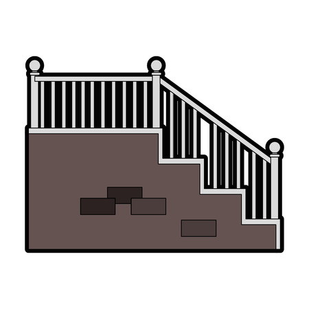 Treppen-Symbol auf weißem Hintergrund Vektor-Illustration Standard-Bild - 83304724