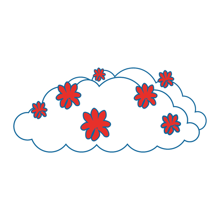 bush with flowers icon over white background colorful design vector illustration Banco de Imagens