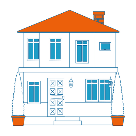 modern house icon over white background colorful design vector illustration Stock fotó