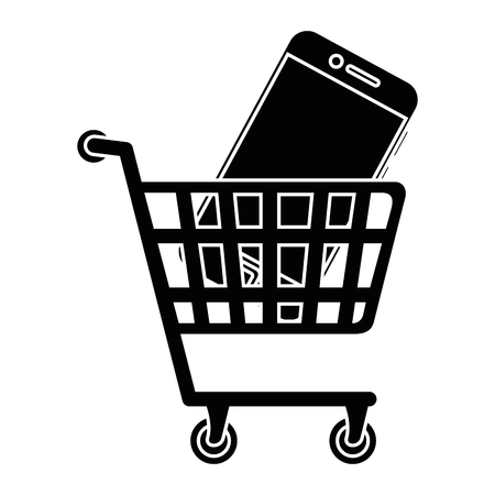 shopping cart with smartphone icon over white background vector illustration