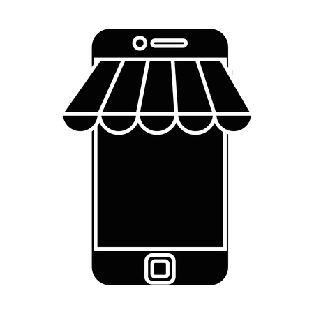 Smartphone device icon over white background vector illustration