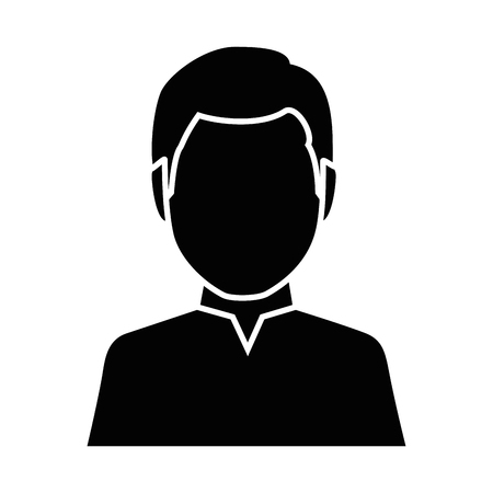 Man avatar icon over white background vector illustration