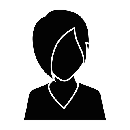 Woman avatar icon over white background vector illustration