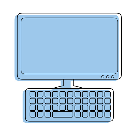 Computer and keyboard icon over white background vector illustration 向量圖像