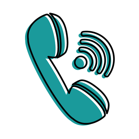receiver: A phone icon over white background vector illustration