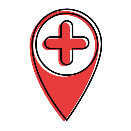 A location pin icon over white background vector illustration