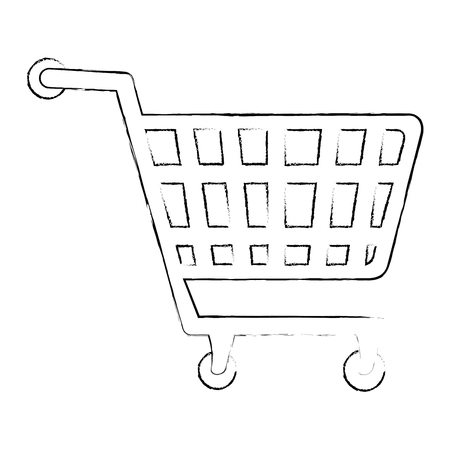 A shopping cart icon over white background vector illustration