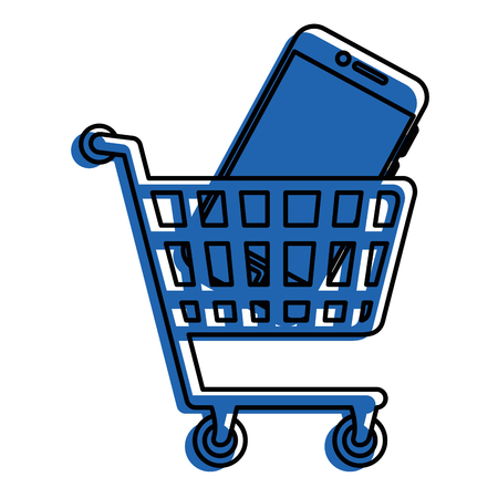 A shopping cart with smartphone icon over white background vector illustration.