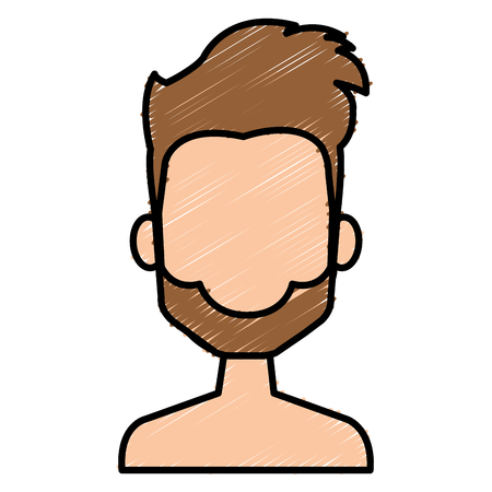 Young man shirtless avatar for character vector illustration design