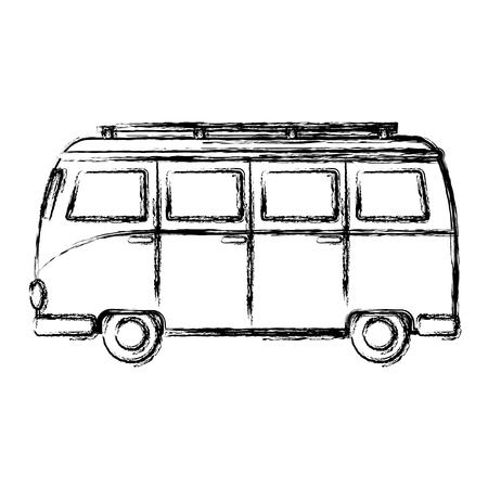 Tourist van isolated icon vector illustration design