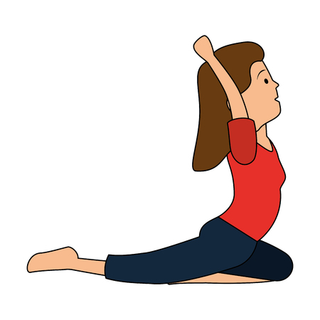 Woman practicing exercise character vector illustration design Ilustracja