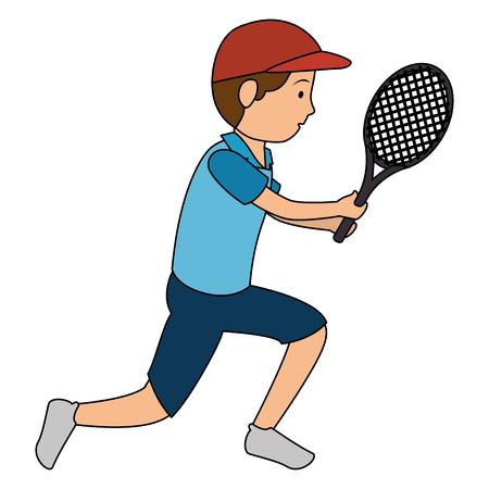 아바타 남자 테니스 벡터 일러스트 디자인을 연주
