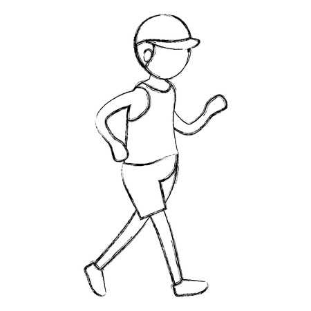 Man practicing athletic march vector illustration design