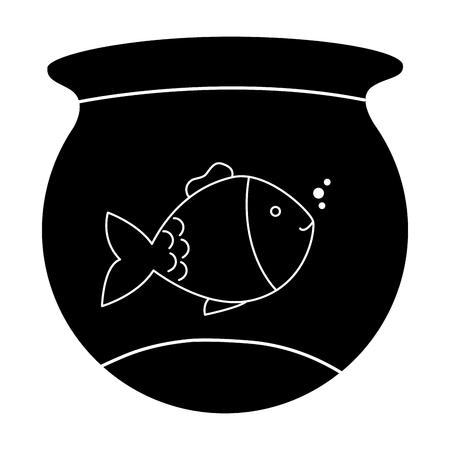 Vector de illustratieontwerp van het vissenaquarium geïsoleerd pictogram