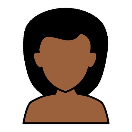 아름다운 아프리카 여자 아바타 캐릭터 벡터 일러스트 레이션 디자인