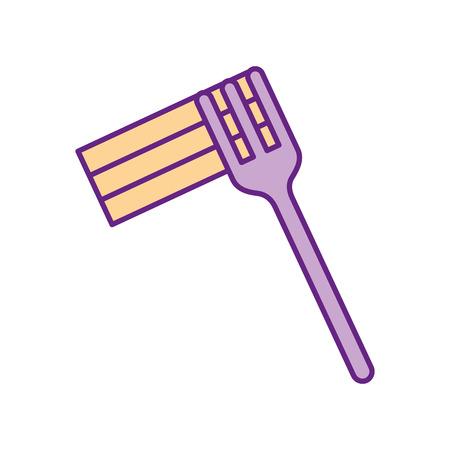Gabel mit Delicious Spaghetti isoliert Symbol Vektor-Illustration Design Standard-Bild - 83366172
