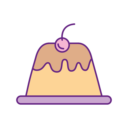 vanilla pudding: sweet pudding isolated icon vector illustration design