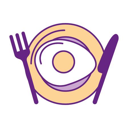 Bestek keuken met ei gebakken vector illustratie ontwerp Stockfoto - 83366256