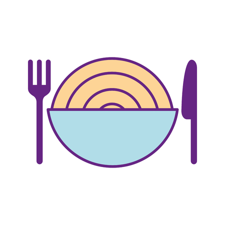 Besteck mit köstlichen Spaghetti isoliert Symbol Vektor-Illustration , Design , Standard-Bild - 83366448