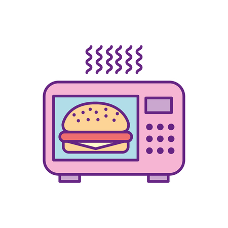 microwave oven with delicious burger vector illustration design
