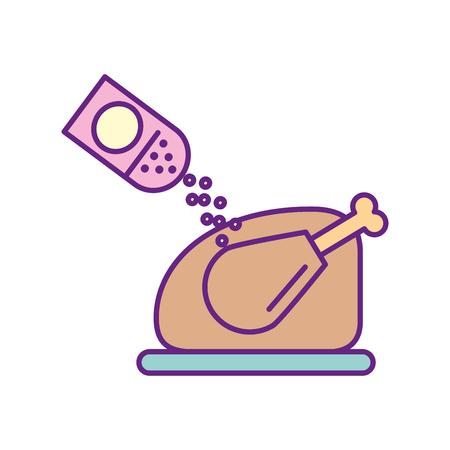 cooked meat: delicious chicken with salt vector illustration design