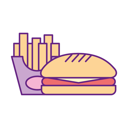 delicious burger with french fries vector illustration design Imagens - 83366542